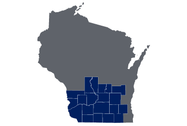 map of Wisconsin with HMO Network counties highlighted