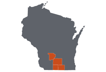 map of Wisconsin with Focus Network counties highlighted